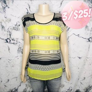 💖3/$25💖 Charming Charlie Sheer Striped Aztec Top